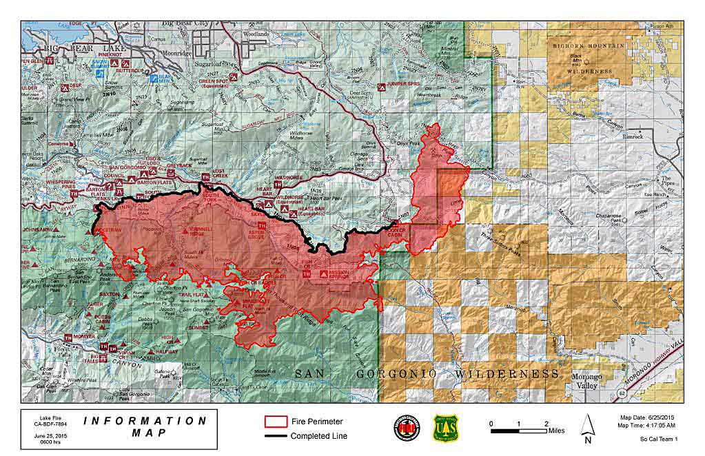 Lake Fire East Of San Bernardino California Wildfire Today - Lakes in california map