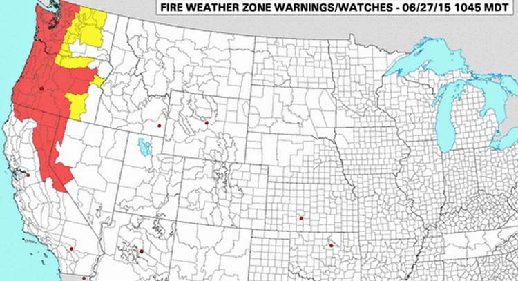 WildfireRed Flag Warnings, June 27, 2015