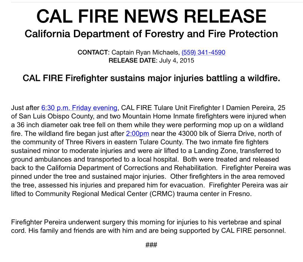 three injured firefightes