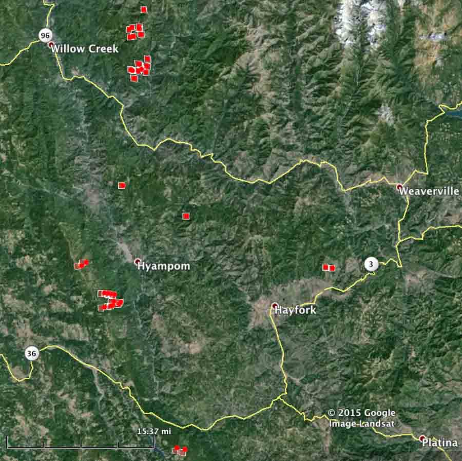 map of wildfires west of Redding 7-31-2015