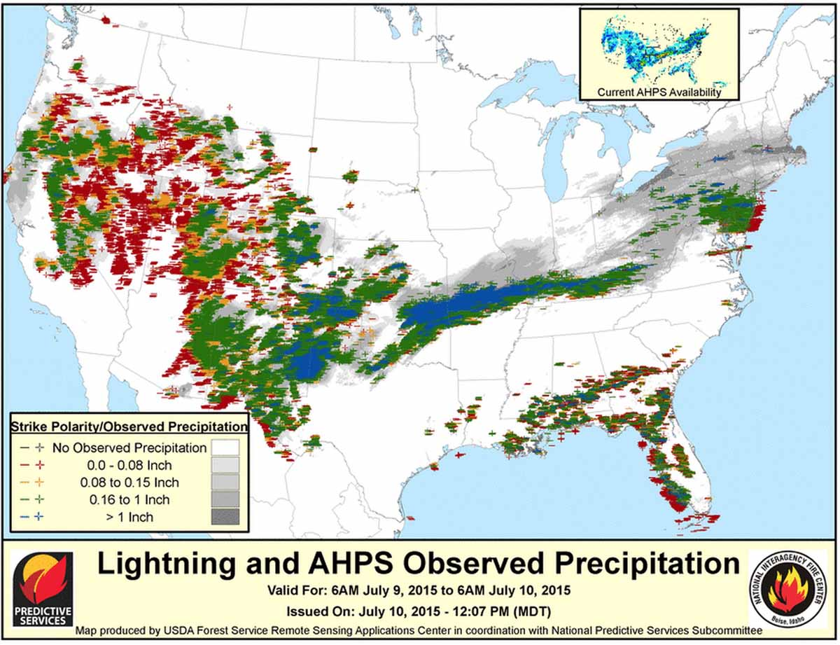 Lightning map, 0600 July 10, 2015