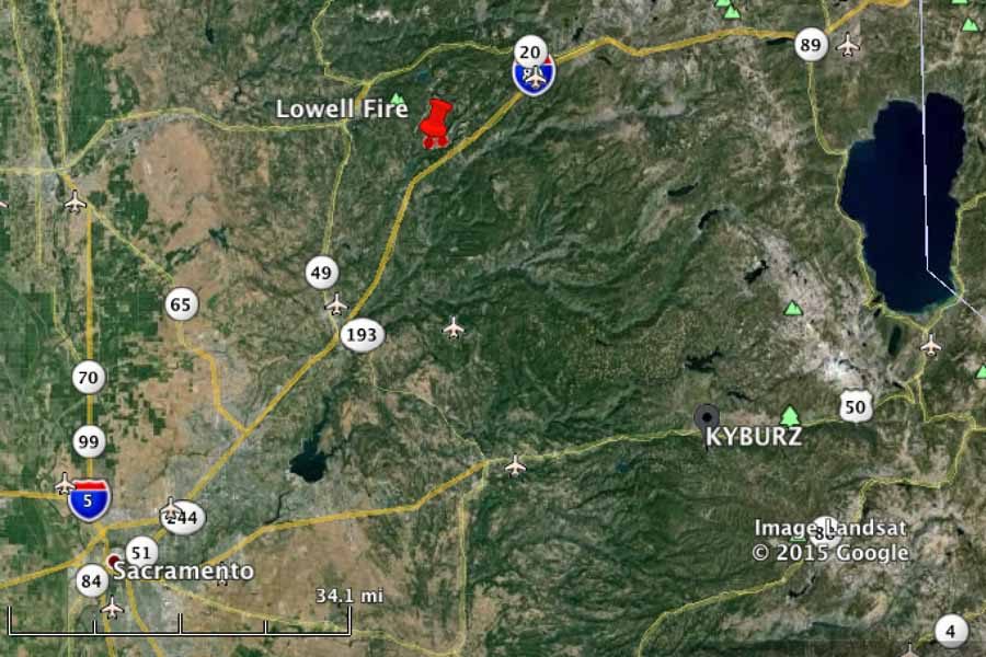 map Lowell Fire California