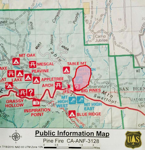 Map of Pines Fire USFS