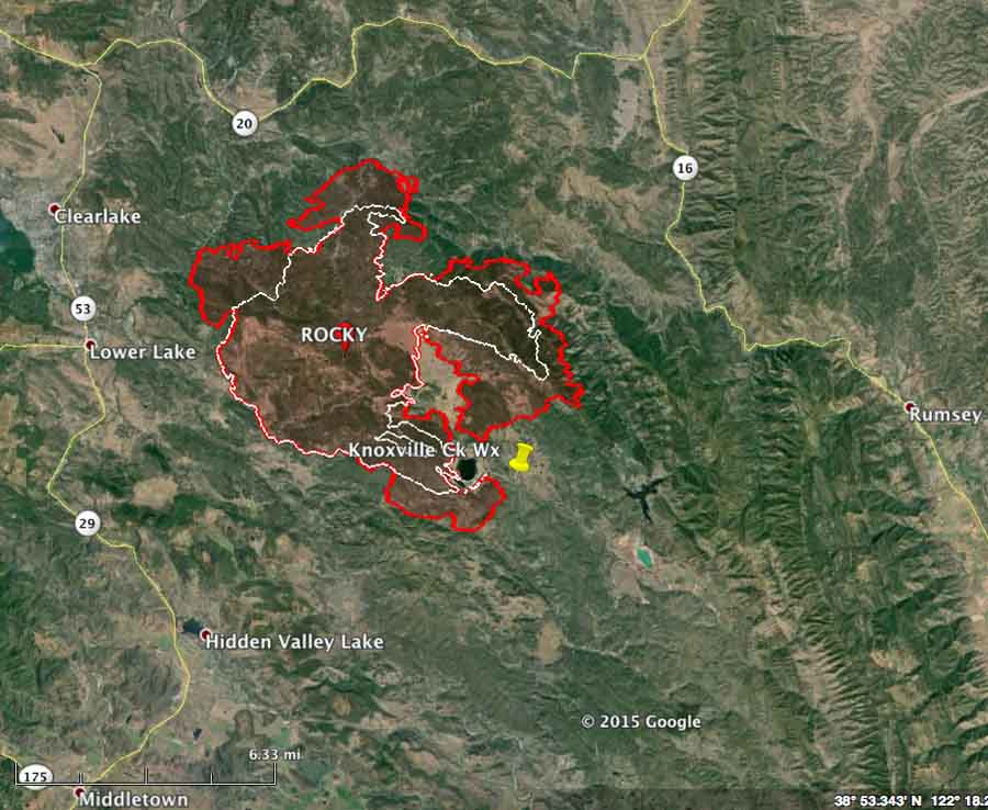 Clear Lake Fire Map Rocky Fire near Clearlake, CA burns thousands of acres in first 5