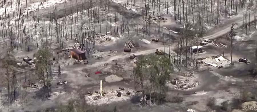 Puntzi Fire, structures burned