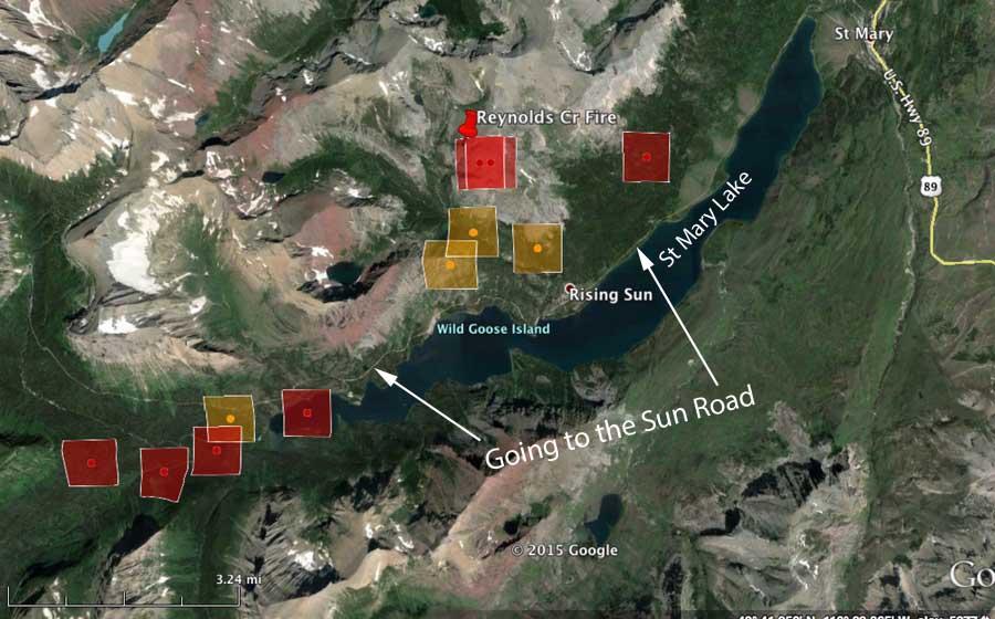 map Reynolds Fire Glacier national park