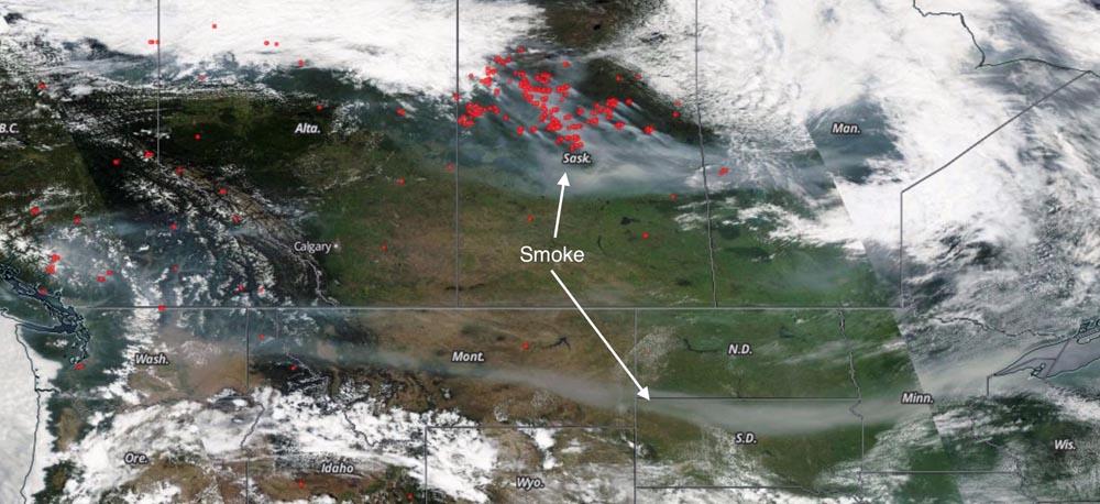 Smoke, satellite photo July 9, 2015