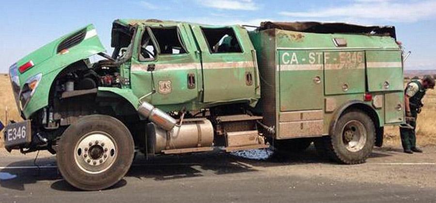 USFS engine rollover accident California Clovis