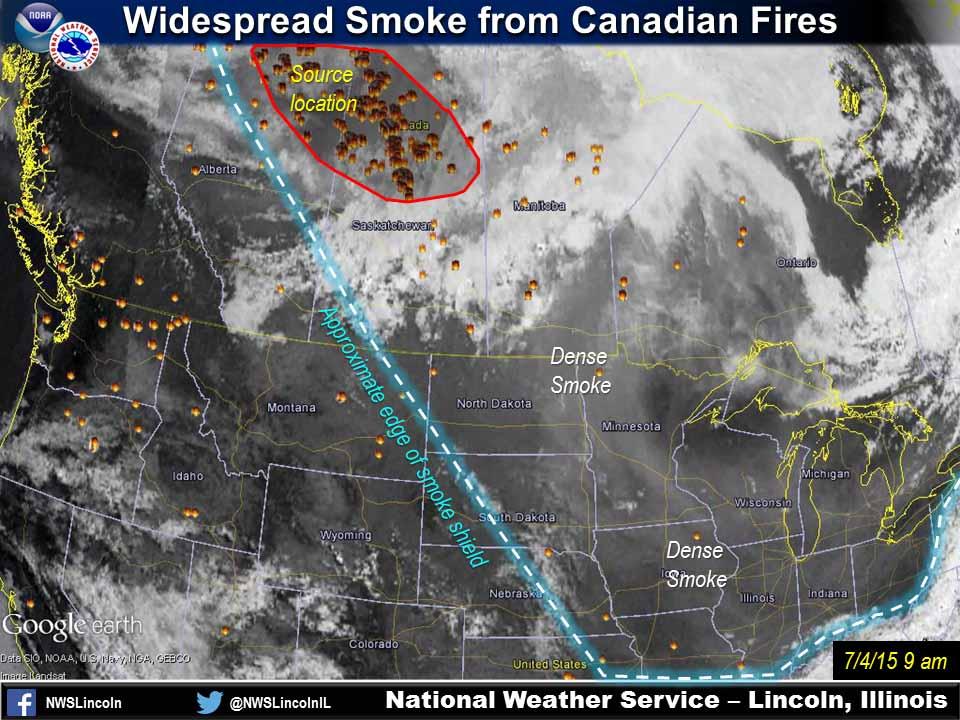 Wildfire smoke July 4, 2015