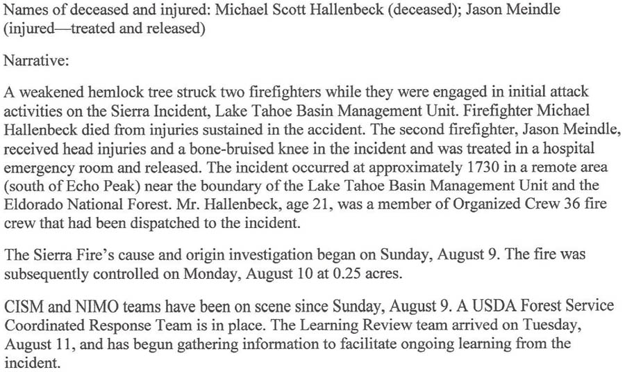Hour Report Released For August  Firefighter Fatality