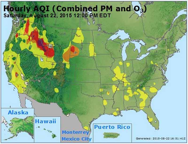 Air quality noon EDT, Aug 22, 2015