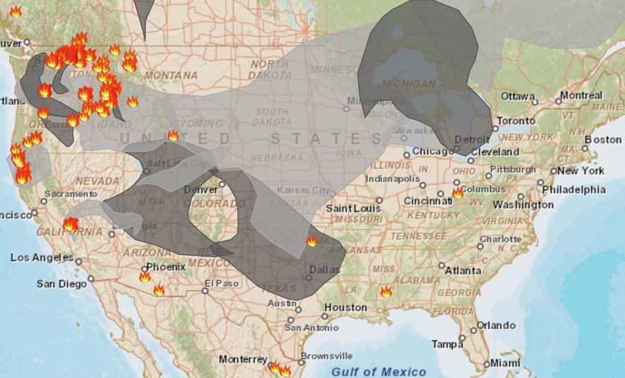 Smoke from wildfires in Northwest affects western states Wildfire