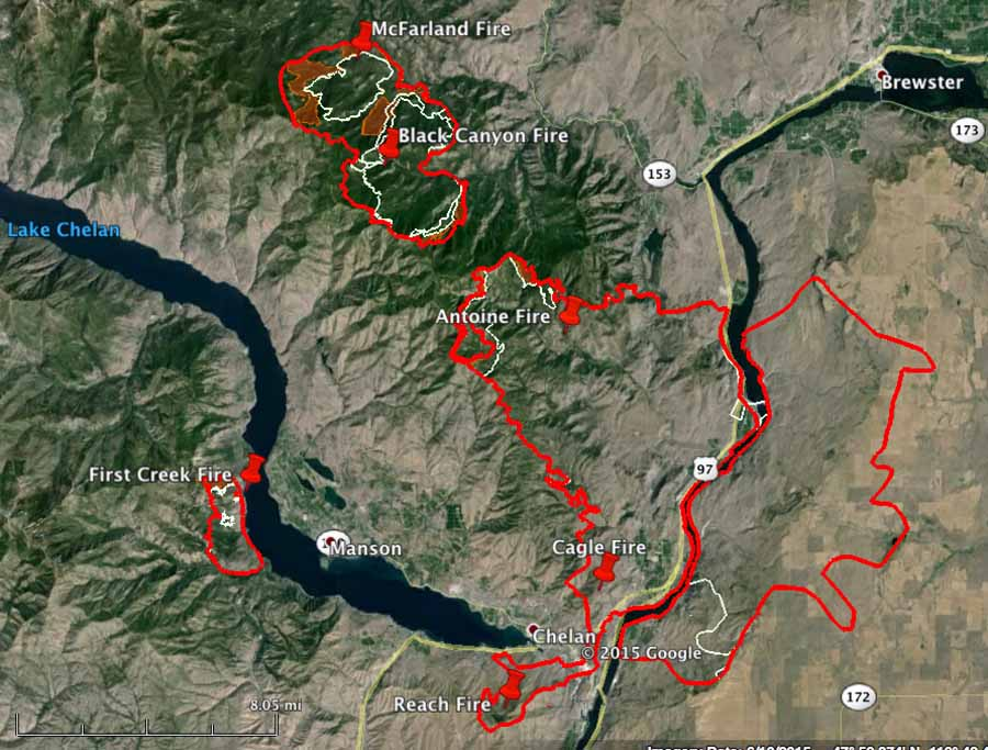 map Chelan wildfires