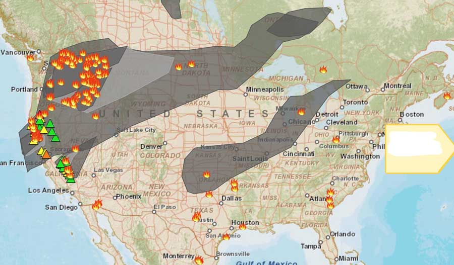 Wildfires And Smoke August 16 2015