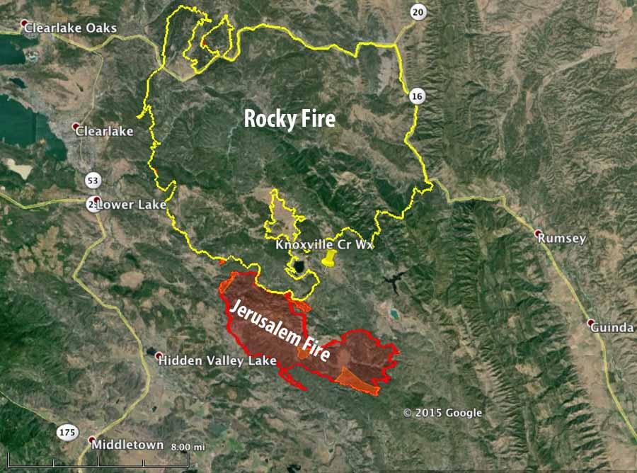 map jerusalem fire rocky fire