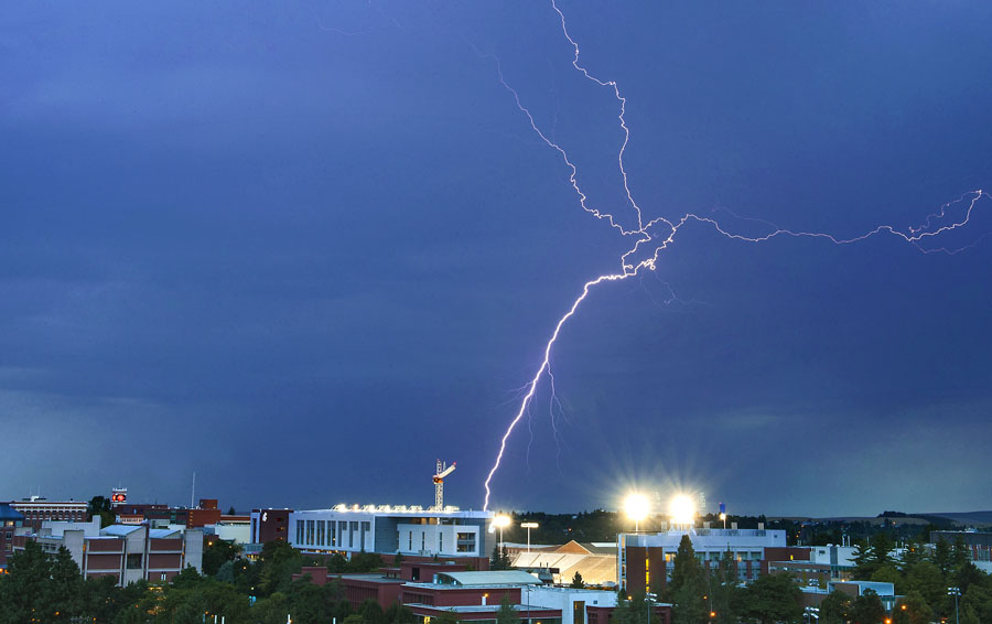 Lightning over Washington State University