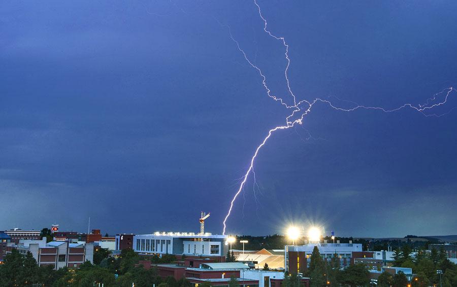 Lightning over Washington State University
