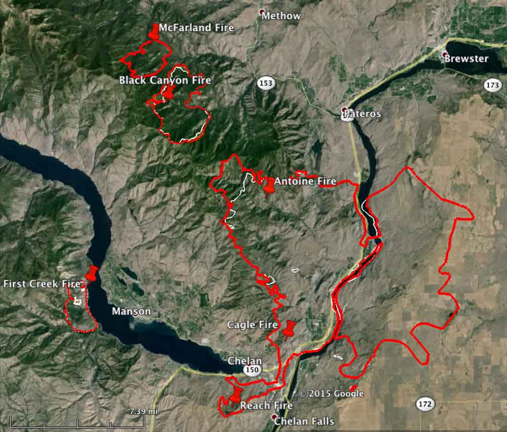 Map Chelan area fires