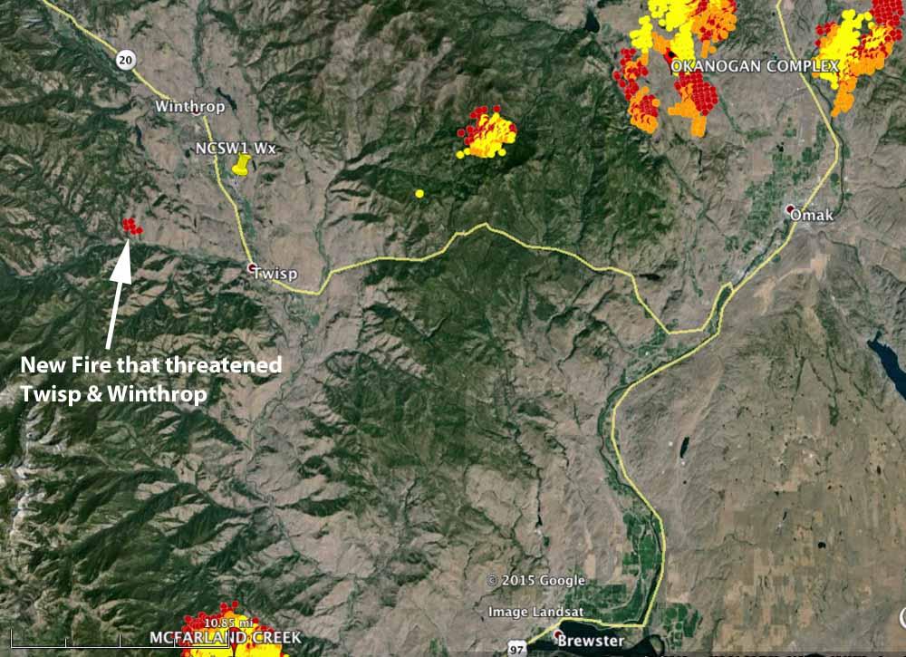 Map fires near Twisp