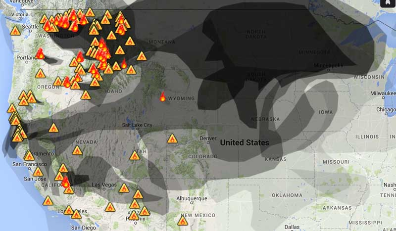Smoke From Wildfires In Northwest Affects Western States - Western us fire map
