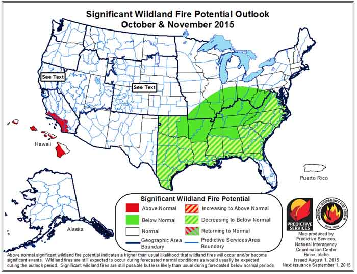 wildfire potential October November