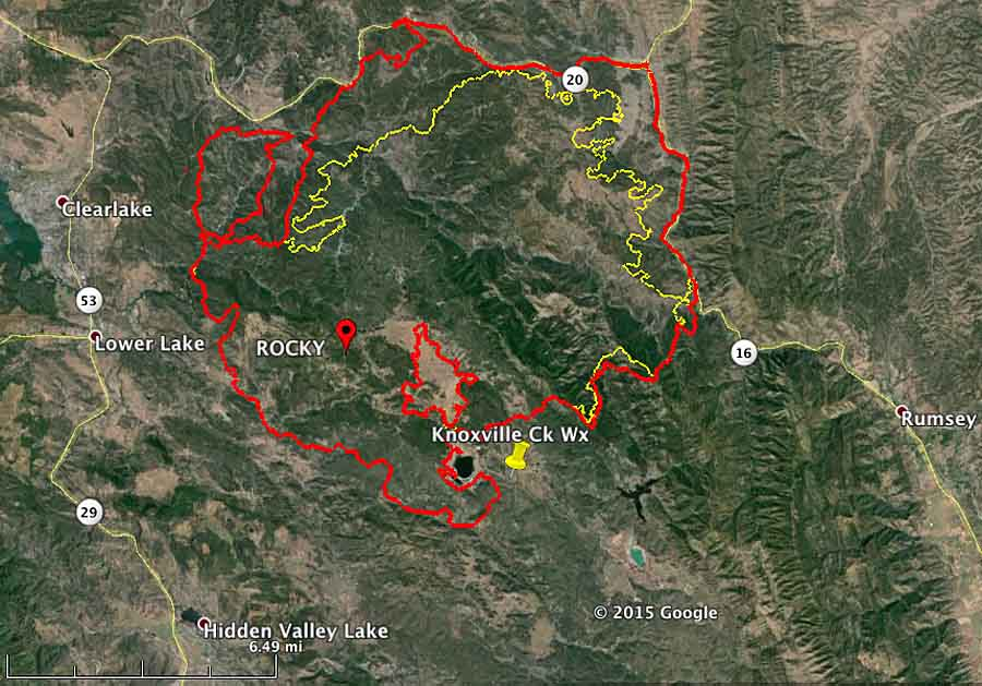 map of Rocky Fire 630 pm PT August 2, 2015