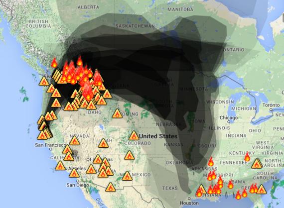 Smoke map, Aug. 27 2015. AIRNow.gov.