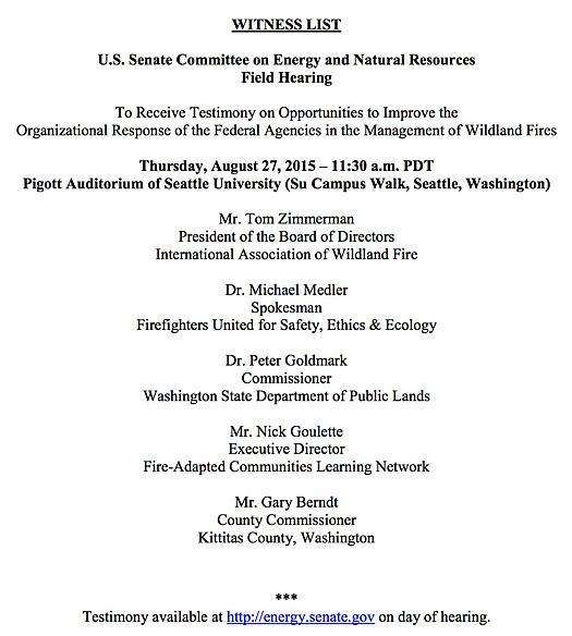 Senate hearing list wildland fire