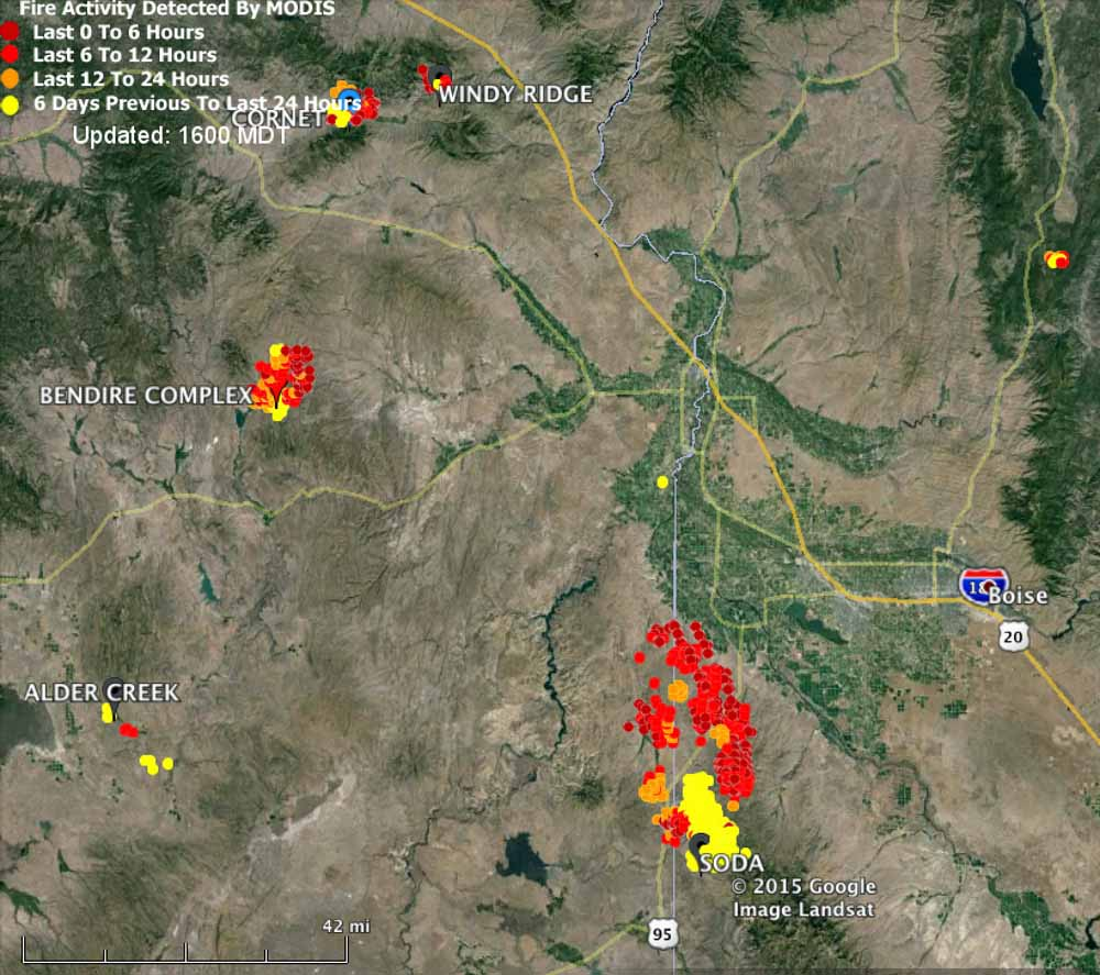 Map Soda Fire 143 Pm Mt Aug 12 2015 Wildfire Today