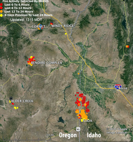 soda fire map idaho Map Of Soda And Other Fires Wildfire Today