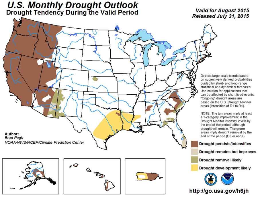 US Drought Outlook, August, 2015