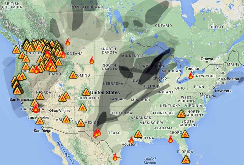 Wildfire smoke map, August 31, 2015   Wildfire Today