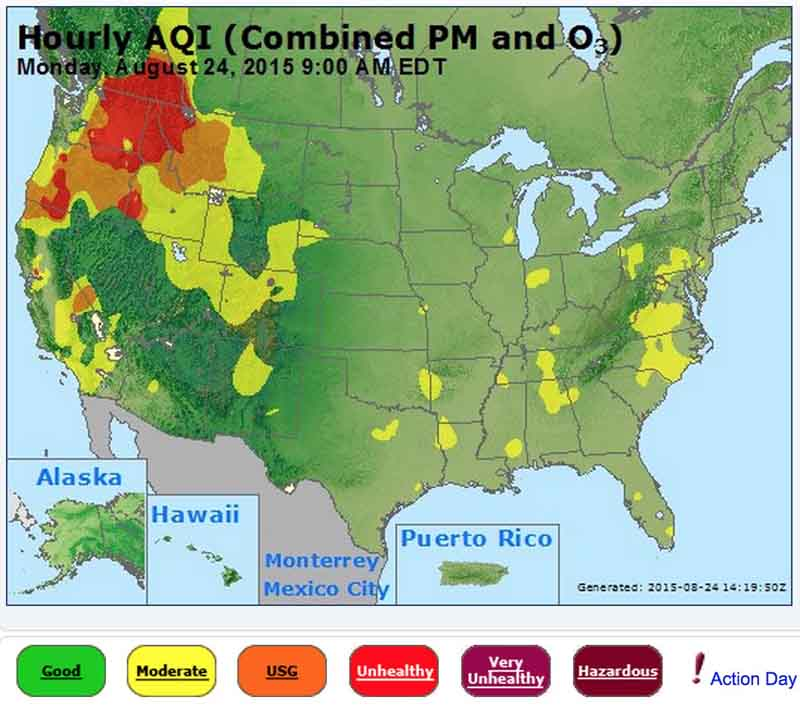 Smoke map and Red Flag Warnings August 24 2015 Wildfire Today