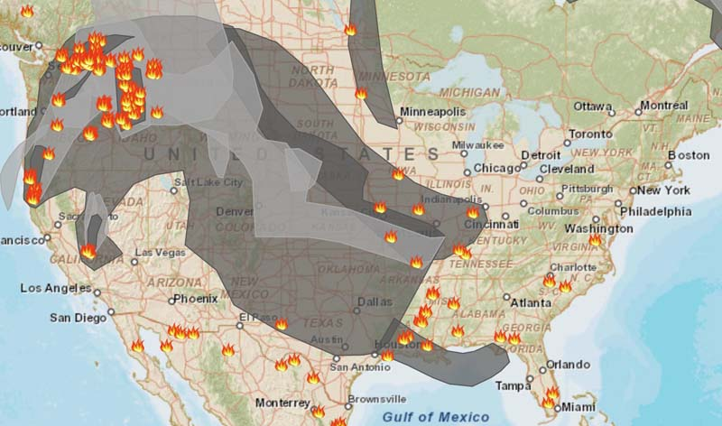 Smoke map and Red Flag Warnings, August 24, 2015   Wildfire Today