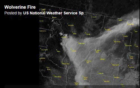 map of smoke Wolverine Fire
