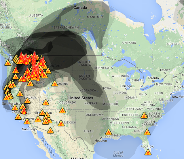 Smoke map   Wildfire Today