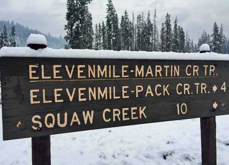 Elevenmile Fire snow