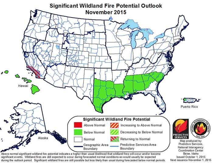 wildfire potential November , 2015