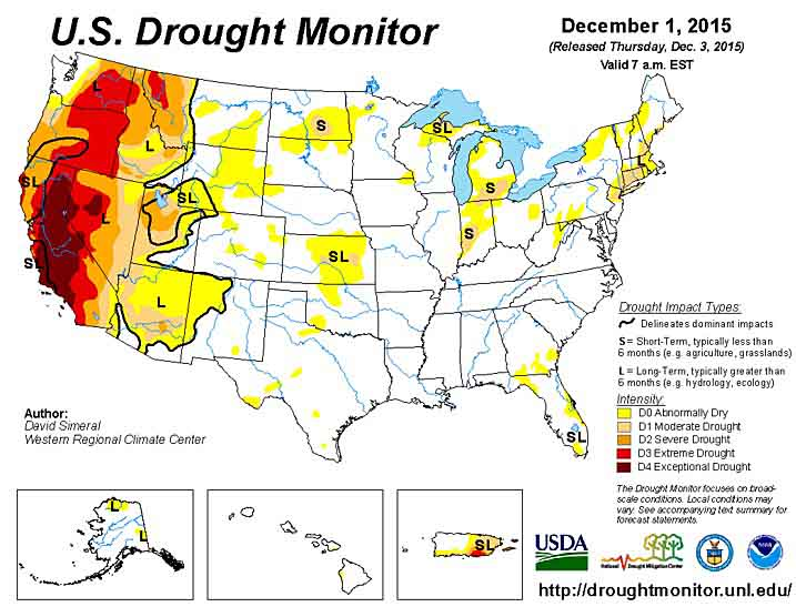 Drought Monitor December 1, 2015