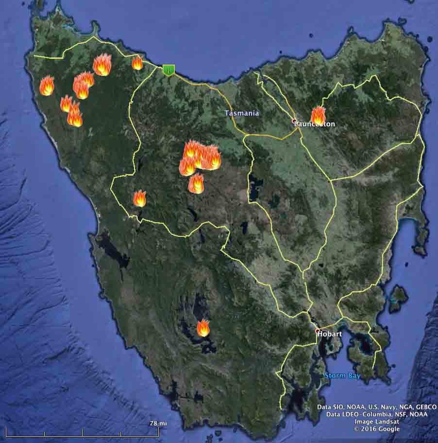 Map of fires in Tasmania
