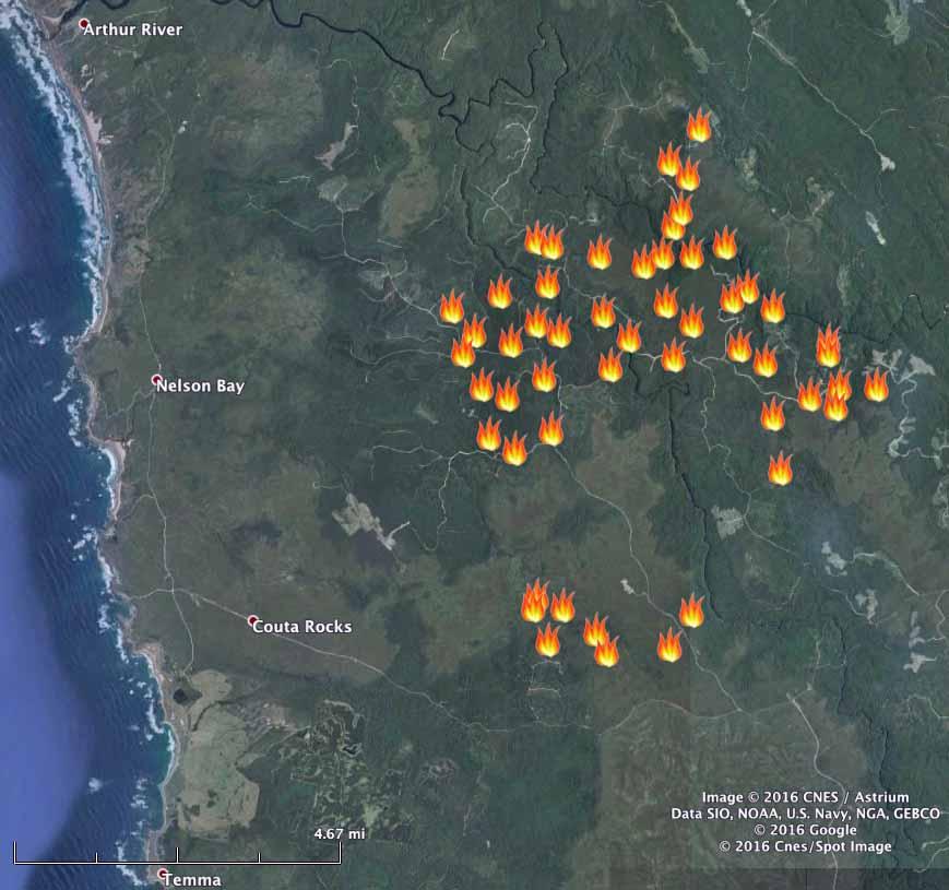 Northwest Tas bushfire 1325 UTC Jan 25 2016