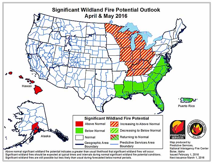 April May wildfire potential