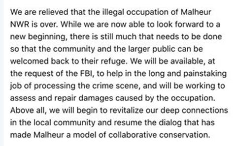 USFWS statement Malheur