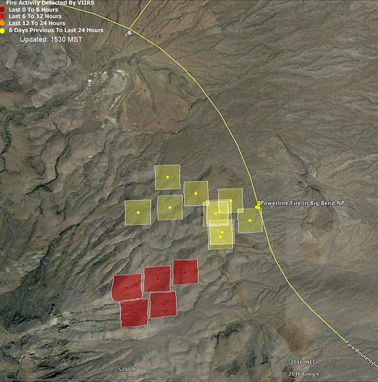 Map Powerline Fire 148 pm CST 2-4-2016