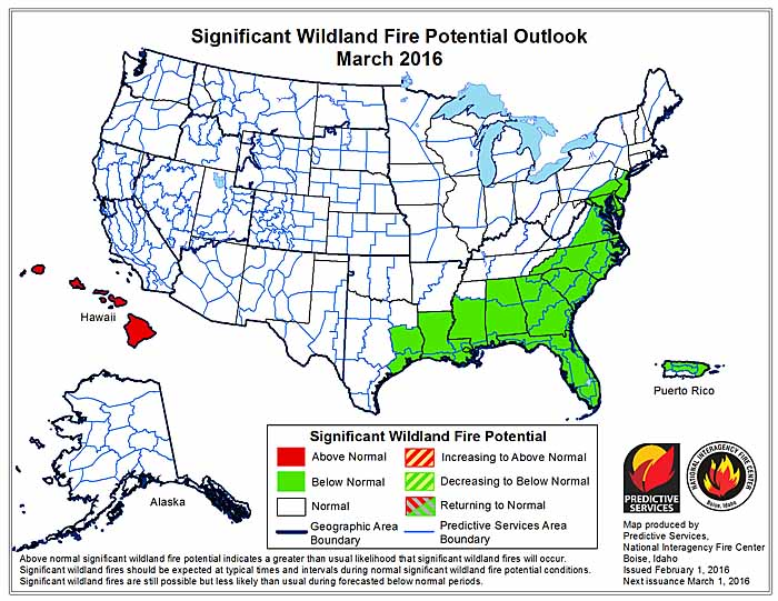 March wildfire potential