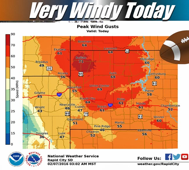 wind forecast 2-7-2016 black hills