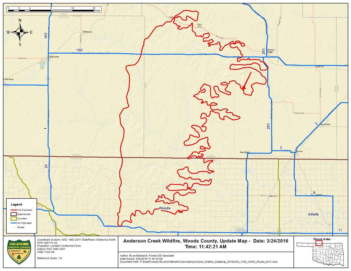 Anderson Creek Fire In Oklahoma And Kansas Wildfire Today - Oklahoma map us