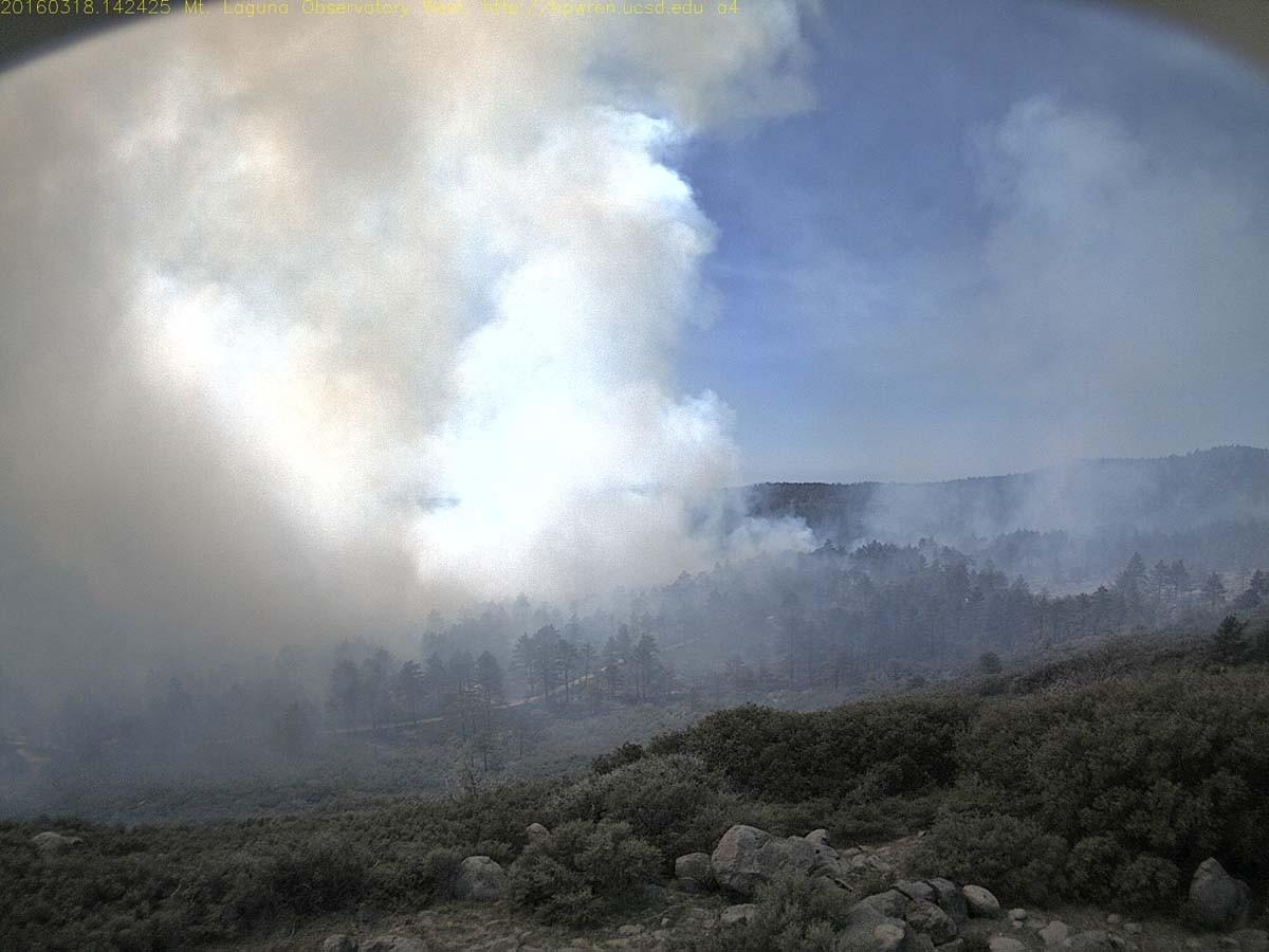 Mt. Laguna prescribed fire still visible on web cam
