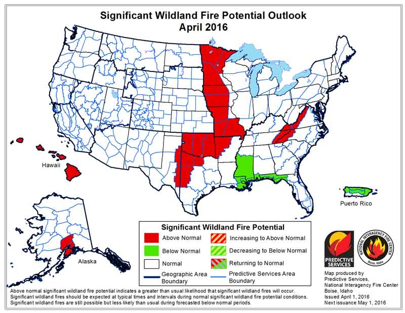 wildfire potential April 2016