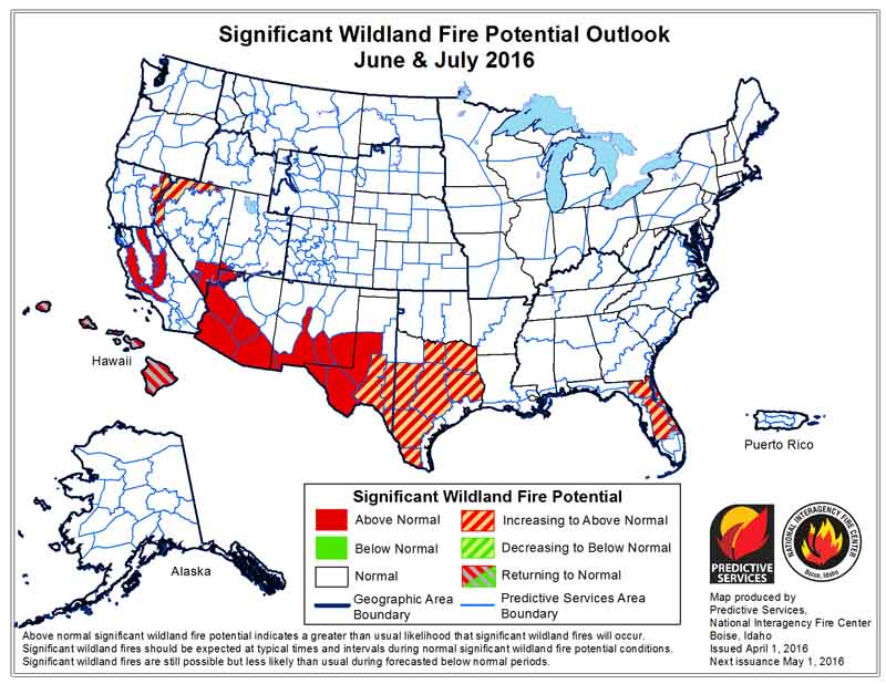 wildfire potential June-July 2016